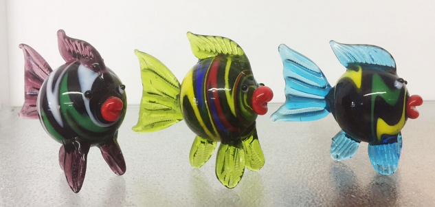 Glasskulptur FISCH bunt 3 Sorten Fische Skulptur Deko Glas Figur Dekoration