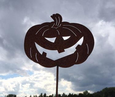 Kürbis Halloween H65cm Gartenstecker Rost Edelrost Metall Gartendekoration