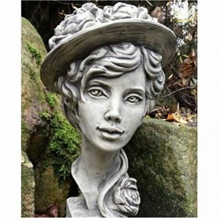 Büste Lady Paeonia 40cm Kopf Frau Skulptur Frauenbüste Steinfigur Steinguss