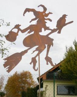 Hexe Waltraud fliegend 60x55cm + Stab Rost Edelrost Metall Figur Gartenstecker