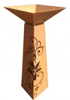 SÄULE Trapez inkl. Schale zum Beleuchten Höhe 116cm Edelrost Rost Ornament - Vorschau 2
