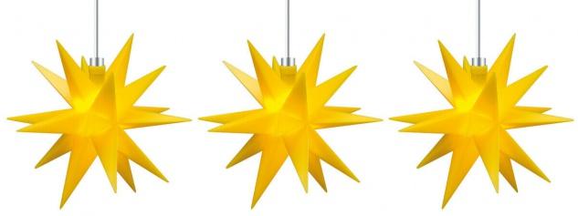 3er LED Sternenkette 12cm gelb Batterie Innen Lichterkette Stern Weihnachten