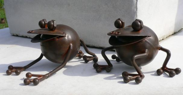 2er Set FRÖSCHE braun lackiert H7, 5cm Metall Figur handbemalt Frosch Kröte