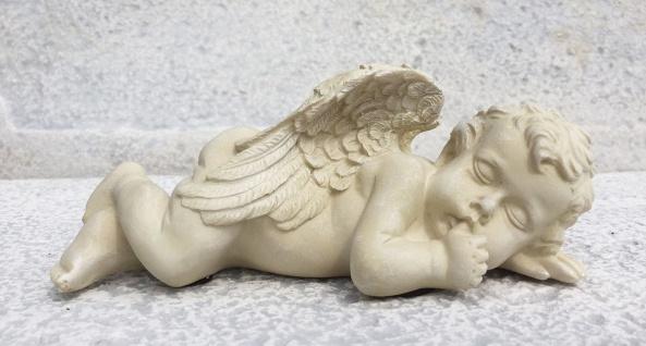 ENGEL LIEGEND Daumen im Mund 19cm Polyresin Weihnachten Grabschmuck Dekoration