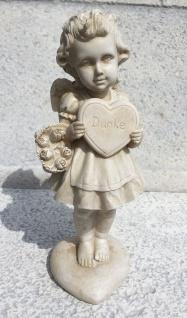 ENGEL Mädchen MIT DANKE HERZ 28cm Figur Weihnachten Grabschmuck Dekoration