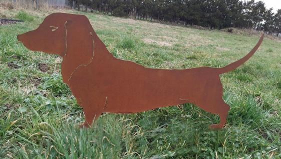 Dackel Waldi Hund 35x75 cm Gartenstecker Edelrost Rost Metall Gartendekoration