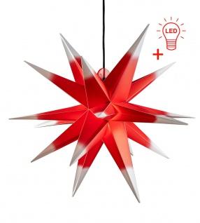 LED Außenstern ROT WEISS 3D XXL Weihnachtsstern 100cm INKL. LEUCHTMITTEL Stern