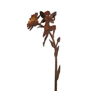 ELFE AUF RINGELBLUME SITZEND 3D 110 cm Gartenstecker Rost Edelrost Metall Fee