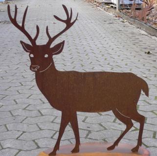 Hirsch 70x76cm Reh Edelrost Metall Tier Rost Figur Gartendekoration Elch