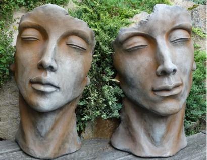 Gesicht MANN UND FRAU 53cm Rosteffekt Skulptur Steinfigur Steinguss Vidroflor