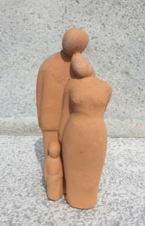 PAAR MIT 1 KIND Familie 21cm terrakotta terracotta Figur Hochzeit Liebe Geschenk