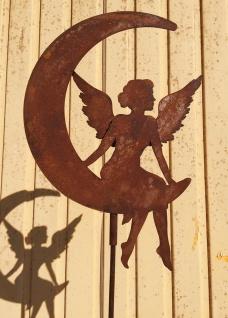 Engel mit Doppelflügel auf Mond 40x30cm + Stab Gartenstecker Rost Edelrost