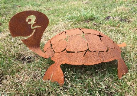 Schildkröte 3D Schildi 60cm Rost Edelrost Metall Rostfigur Gartendeko Teichdeko