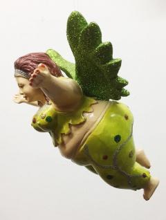 Medusa FAT ANGEL grün Glitzer 16cm handbemalt zum Hängen Engel dick BAUMSCHMUCK - Vorschau 5