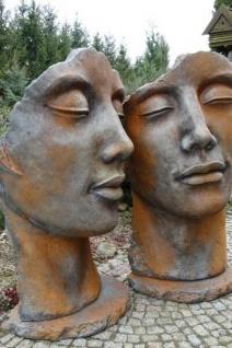 Portrait Gesicht MANN UND FRAU 115cm Rosteffekt Skulptur Steinfigur Vidroflor