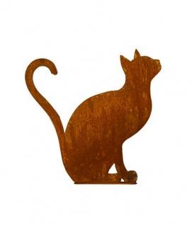 Katze sitzend 35cm hoch Rost Edelrost Metall Kater Kätzchen Herz Garten Deko