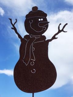 SCHNEEMANN KURTI Gartenstecker 54x39cm + Stab Winter Weihnachten Rost Edelrost