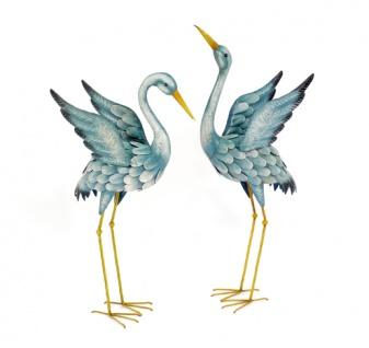 2er Set Kranich H86/99cm Reiher Metall bunt Skulptur Vogel Figur Metallfigur
