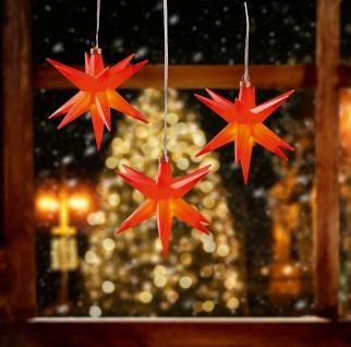 3er LED Sternenkette ROT 3D Lichterkette Stern Weihnachtsstern außen & innen