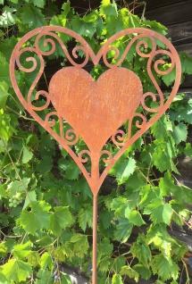 HERZ filigran 30 x 30cm + Stab Gartenstecker Edelrost Rost Rostherz Ornament