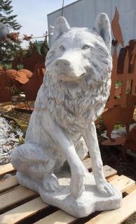 Steinfigur Wolf sitzend lebensgroß Hund Hunde Steinguss Gartendekoration