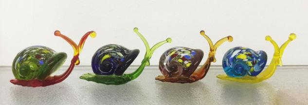 Glasskulptur SCHNECKE bunt 4 Sorten Schnecken Skulptur Glas Figur Dekoration