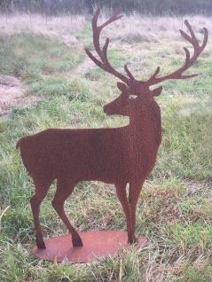 Hirsch zurück blickend 100x75cm Rost Edelrost Metall Tier Rostfigur Gartendekoration