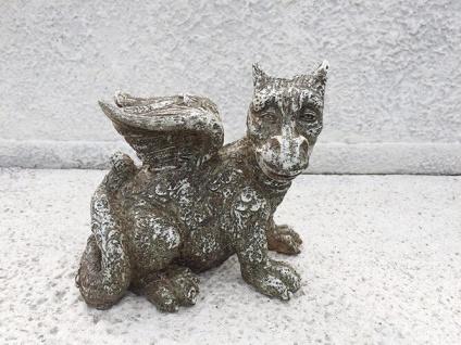 Drache sitzend Gargoyle 20cm Polyresin Kunststein Drachen Figur frostfest