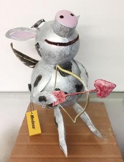 Medusa SCHWEIN AMOR H29cm Liebespfeil Metall Figur handbemalt Teelicht Windlicht
