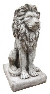 Steinfigur Großer Löwe sitzend XXL 90cm hoch Steinguss Steinlöwe Leo Raubkatze