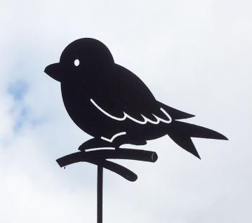 SPATZ AUF ZWEIG 13x50cm Gartenstecker Vogel Vögel Rost Edelrost Gartendeko