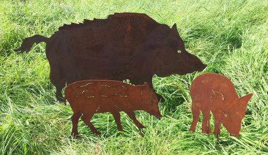 Frischlinge 30cm und/oder Wildschwein 100x50cm Familie Gartenstecker Edelrost