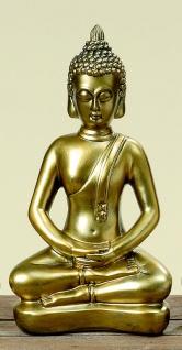 Buddha antik gold finish 37cm Hände im Schoß Skulptur Kunstharz Mönch Deko Figur Feng Shui