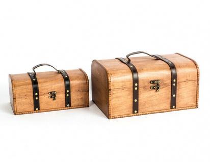 HOLZ TRUHE L28/35cm 2 Sorten Holzkiste Schatztruhe Landhausstil Massivholz Box