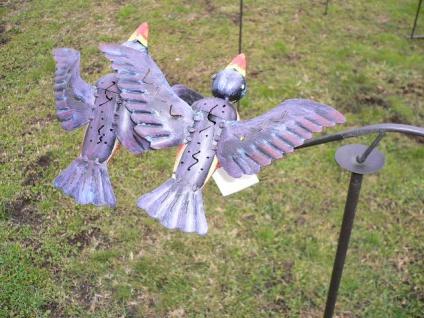 Windspiel Vögel blau bunt Metall 60x120cm Wind Wippe Vogel Pendel Gartenstecker - Vorschau 2