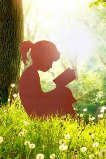 Mädchen liest Buch 75x60cm Rost Edelrost Metall Rostfigur Kind Junge Dekoration