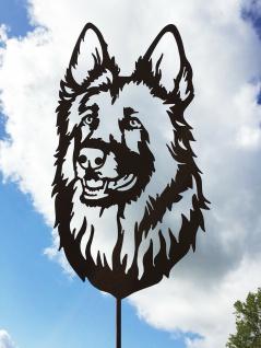 Schäferhund 45x27cm auf Stab Gartenstecker Edelrost Rost Figur Hunde Kopf