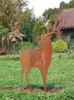 Hirsch Doppelgeweih 100x75cm Geweih Reh Rost Edelrost Metall Figur Rostfigur