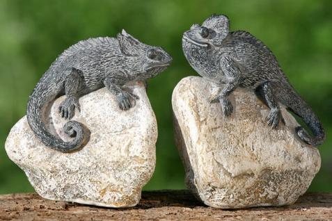 CHAMÄLEON AUF STEIN Dekoration Echse Leguan Eidechse Reptil Polyresin