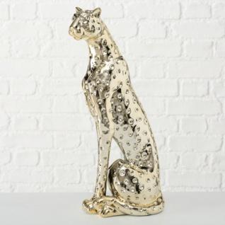 Skulptur GEPARD sitzend 33cm hoch gold glänzend Dolomit Keramik Leopard Tiger