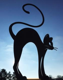 KATZE MIT BUCKEL elegantes Kätzchen Rost Edelrost Metall Figur Rostfigur Tiere