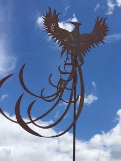 PHÖNIX Vogel Gartenstecker 80x52cm+Stab Rost Figur Edelrost Metall Phoenix Tier