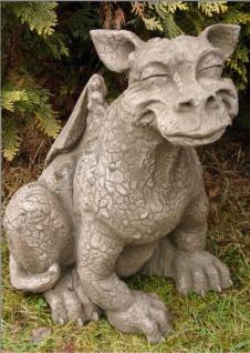 Drache CHEEZY lächelnd 42cm hoch Skulptur Steinfigur Steinguss Vidroflor