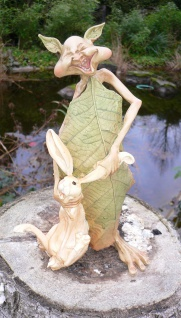 Laubmännchen mit Hase 23cm Blattmännchen Wichtel Kobold Dekoration wetterfest