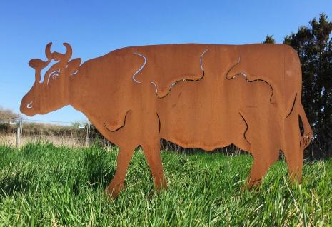 Große KUH 106x60cm zum Stecken Rost Edelrost Rostfigur Gartenstecker Kühe Stier