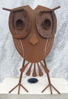 Eule Augen aus Hufeisen Uhu 3D Höhe 45cm Edelrost Rost Rostfigur Metall Vogel