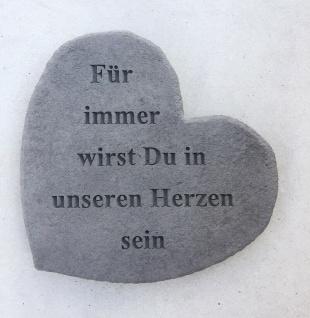 """GEDENKSTEIN Gedenkherz Herz Spruch Für immer wirst du in ..."""" Steinguss 17x15cm Grabschmuck"""