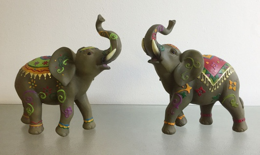 2er Set ELEFANT BUNT HANDBEMALT H20cm Dekoration Figur Skulptur Elefanten Rüssel - Vorschau 1