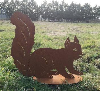 Eichhörnchen 25x29cm Rost Edelrost Metall Figur Wald Tier Gartendeko Dekoration