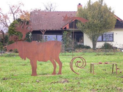 Elch 115x115cm Rentier Hirsch Reh Weihnachten Rost Edelrost Metall Schlitten